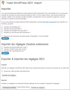 Import des données All in One SEO